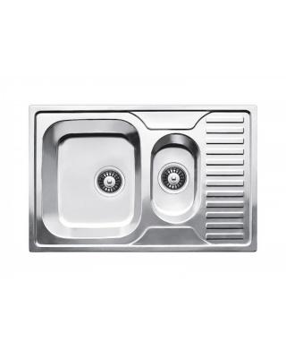 Кухонна мийка Fabiano 78x50x1,5 мікродекор  Нержавіюча сталь